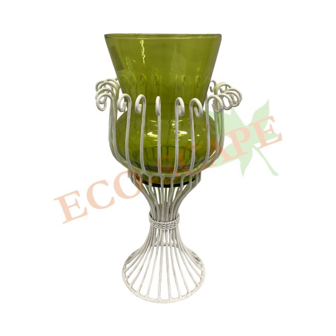 Green Glass White Holder-0